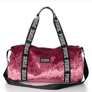 PINK Victoria's Secret Crushed Velvet Mini Duffel